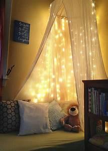 DIY toddler reading nook -White christmas lights, old crib