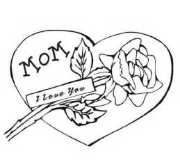 I Love Mom Heart Coloring Pages
