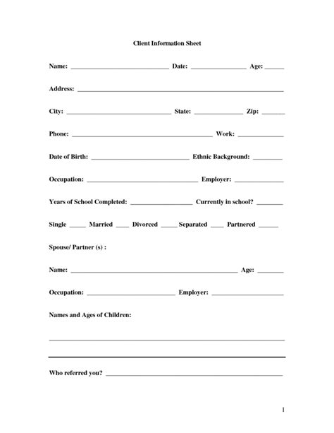client information sheet templates word excel  formats