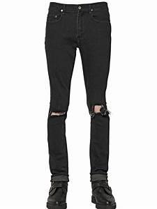 April77 16cm Joey Ripped Stretch Denim Jeans in Black for Men | Lyst