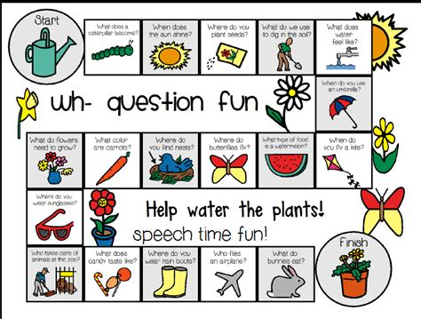 wh question board game spring freebie for the little