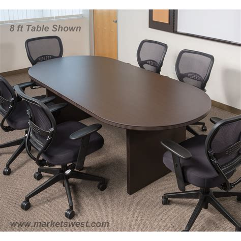 8 foot x 44 inch racetrack conference table espresso