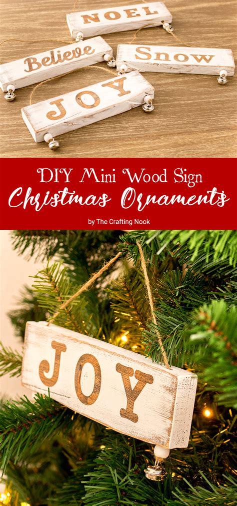 diy mini wood sign christmas ornaments  crafting nook