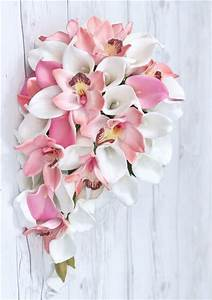 Pink Orchids and Calla Lilies Cascading Bouquet