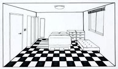 Drawing A Bedroom In One Point Perspective by One Point Perspective Bedroom