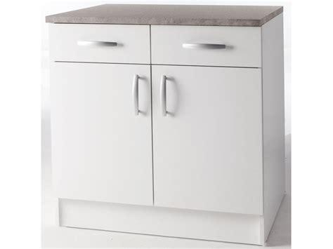meubles de cuisine meuble bas quot paprika quot blanc 80 cm 2 portes 2 tiroirs 39858