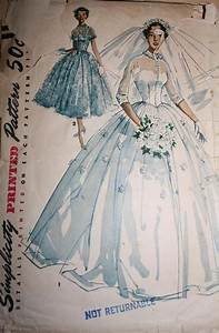 Vintage sewing pattern 1950s big poufy wedding dress full for Vintage wedding dress patterns
