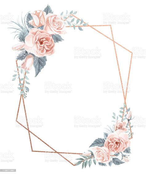 Watercolor Floral Frame Bouquet Stock Illustration