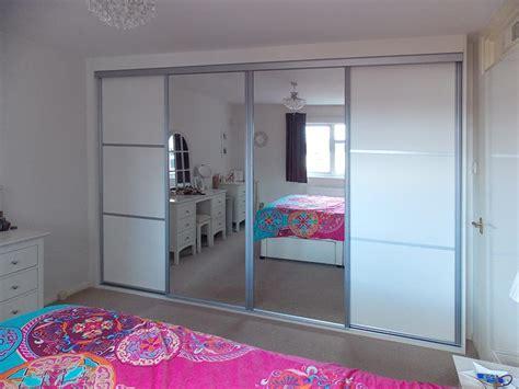 White Mirrored Wardrobe by Fitted White Aluminium Mirrored Sliding Wardrobe