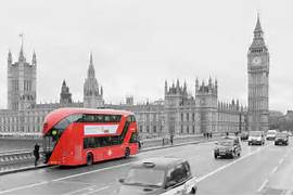 London Black And White Red Bus