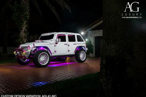 white jeep with teal accents ag luxury wheels jeep wrangler forged wheels