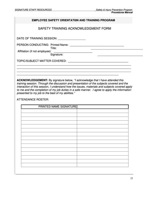 safety training acknowledgment form printable