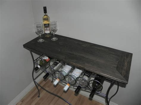 Iron Wine Rack Console Table With Distressed Wood Top