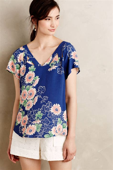 maeve blouse maeve tri cut blouse in blue lyst