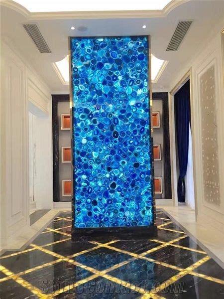 blue semi precious stone panels backlit agate wall