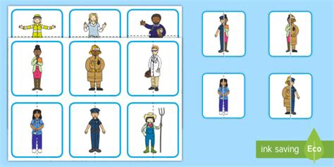Community Helpers Matching Puzzle  Jobs, Labor Day, Jobs