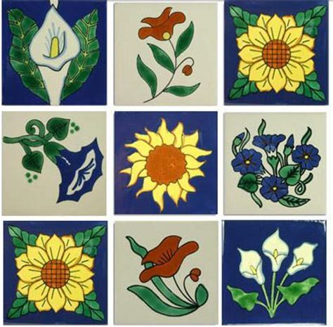 Flowers Mexican Ceramic Tile Collection ? Mexican Tile Designs