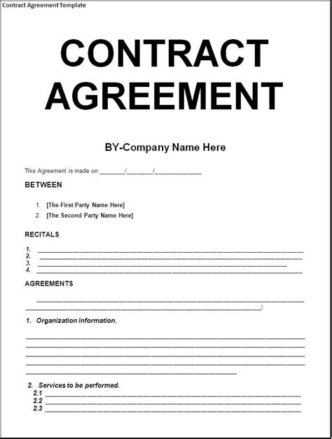 blank contract agreement form sample