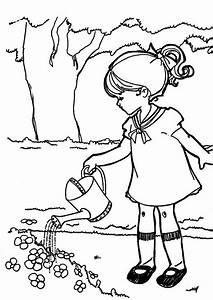 Jardin Dessin Couleur : coloriage la petite fille et l 39 arrosoir ~ Melissatoandfro.com Idées de Décoration