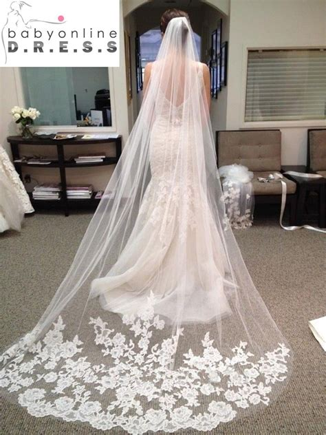 Wedding Accessories 2016 Appliques Tulle Long Cathedral