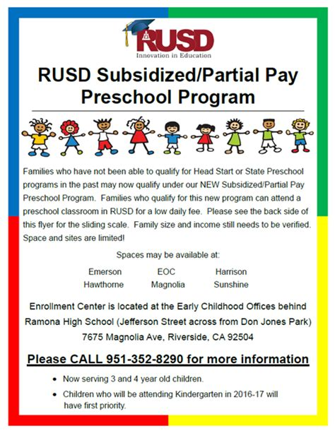 early childhood programs riverside unified school district 507 | Partial Pay Preschool