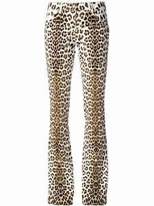 Jeans Pocket Design Roberto Cavalli Leopard Print Bootcut Jeans In White Lyst