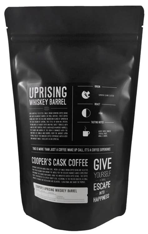 Cooper's gourmet coffee makes it easy to sample roasts from all over the world. Whiskey Barrel Aged Coffee Beans Box Set - Two (2) 12oz Bags & Mug - Cooper's Cask Coffee Company