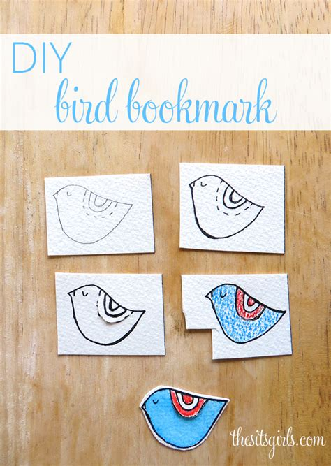 diy  bird bookmark watercolor craft
