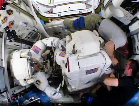 astronauts make hasty spacewalk to make repairs ny daily news