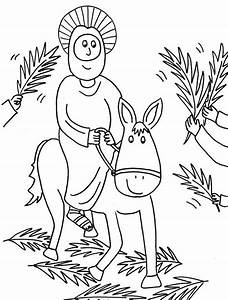 Jesus Riding On A Donkey Coloring Page Cartoon Of Jesus