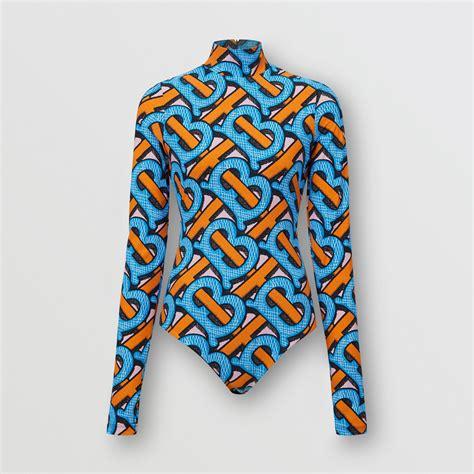 monogram print stretch nylon turtleneck bodysuit  bright cobalt women burberry united states