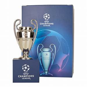 Uefa Champions League Trophy Replica 70 Mm On Wooden Pedestal