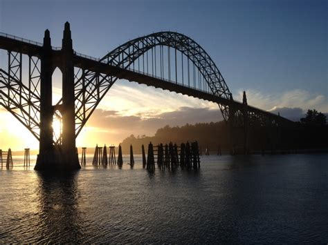 newport oregon bridge  sunset  stock photo