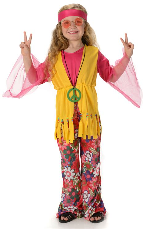 Peace Hippie Girls Fancy Dress 1960s 70s Hippy Childrens Kids Childs Costume New | eBay