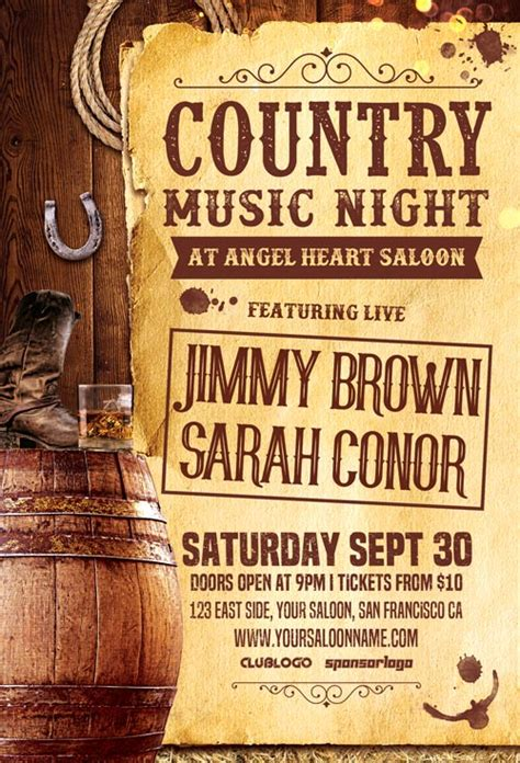 country poster template live country music night flyer template flyer for club