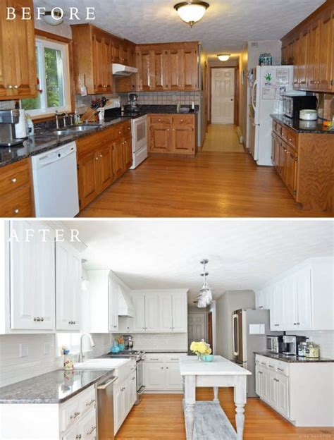diy white painted kitchen cabinets reveal 589 KitchenBeforeAfter 2
