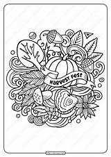 Coloring Harvest Printable Pdf Fest sketch template