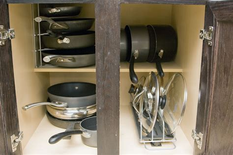 Pots And Pans And Lids Storage With Stainless Steel Pull