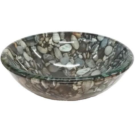 Eden Bath Small Natural Pebble Pattern Glass Vessel Sink