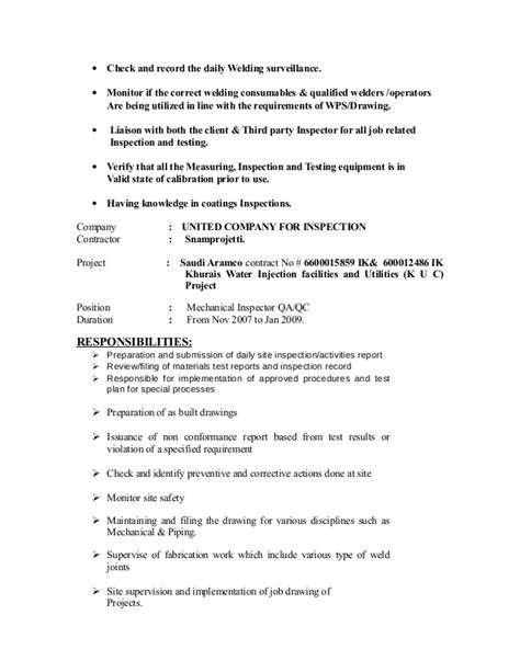 cv for qc inspector mechanical