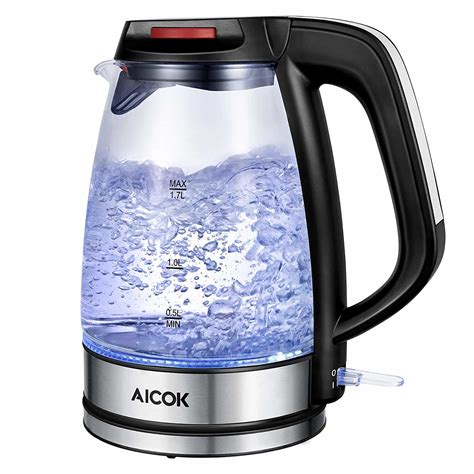 kettle glass aicok electric water tea kettles cordless amazon boil rated pot thermostat 1500w strix fast premium control indicator led