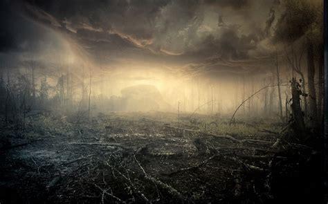 mist nature landscape clouds dead trees sunrise fire