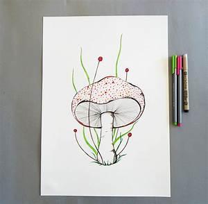 Colorful mushroom drawing. Botanical art. Mushroom art. Fungi