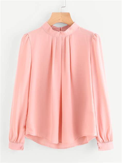 blouson blouse pleated detail button keyhole back chiffon blouse shein