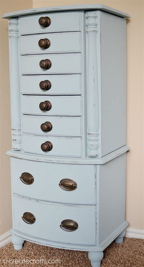 Blue Jewelry Armoire by Jewelry Armoire Makeover With Valspar Chalky Finish Paint