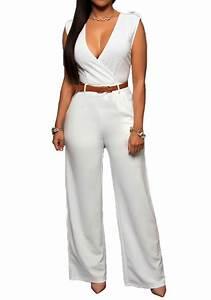 Combinaison Pantalon Femme Mariage : combinaison pantalon palazzo col v plongeant taille haute ~ Carolinahurricanesstore.com Idées de Décoration
