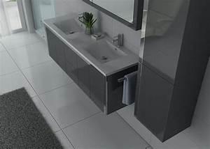 Meuble Salle De Bain Gris : meuble de salle de bain double vasque gris dis025 1500gt ~ Preciouscoupons.com Idées de Décoration