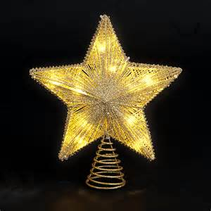 trees and lights 25cm 10in gold tree topper with 10 battery operated warm white