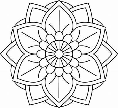 Mandala Coloring Easy Printable Simple Flower Adults