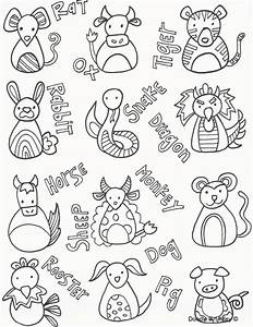 chinese new year animals coloring pages - chinese new year coloring pages doodle art alley